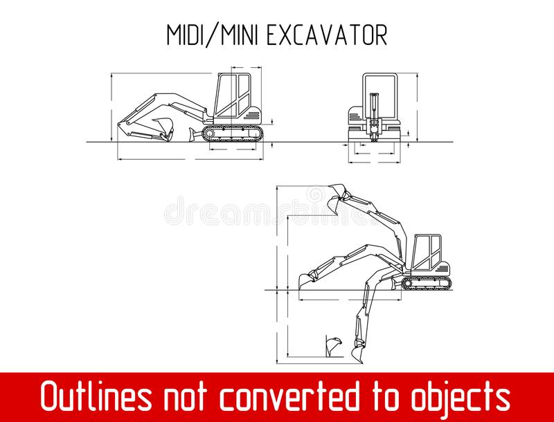 Typical mini excavator overall dimensions outline blueprint template royalty free illustration