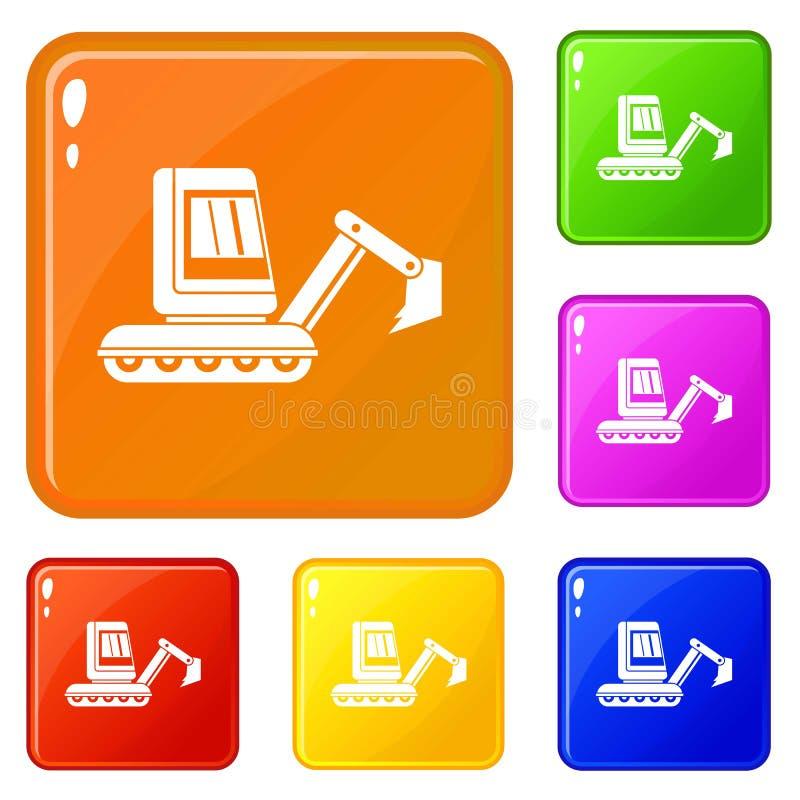 Mini excavator icons set vector color. Mini excavator icons set collection vector 6 color isolated on white background royalty free illustration