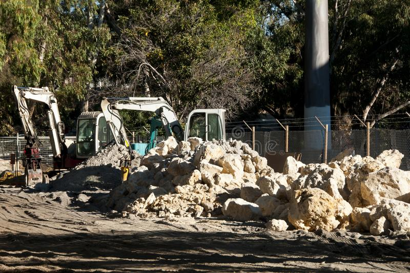 Mini Excavators royalty free stock photo
