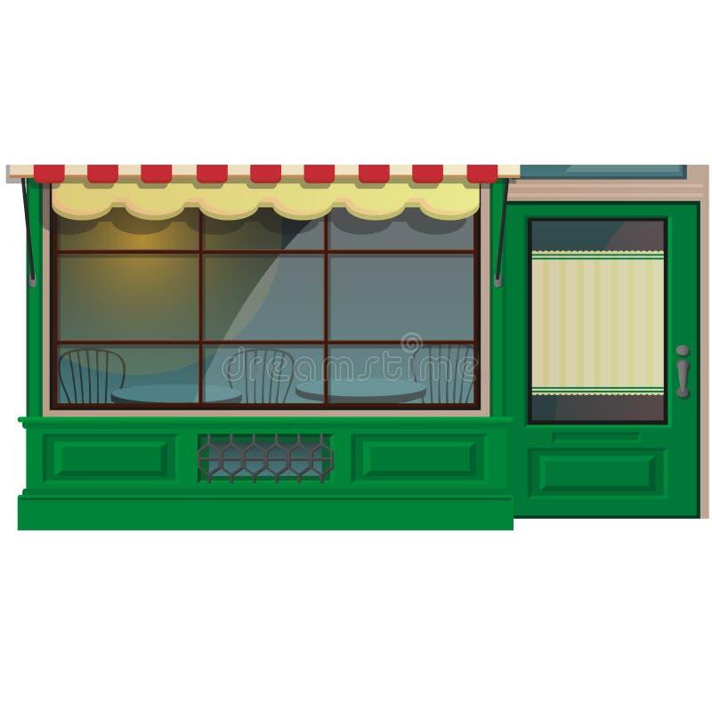 Mini extérieur de magasin de café d'isolement sur le fond blanc Illustration de bâtiment de restaurant de rue dans le style plat  illustration de vecteur