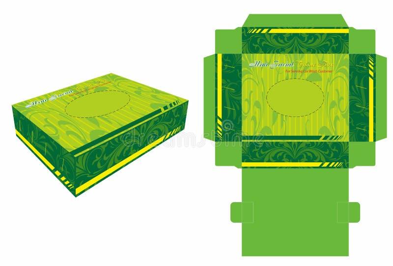 Mini Facial Tissue Paper Box y cortado con tintas ilustración del vector