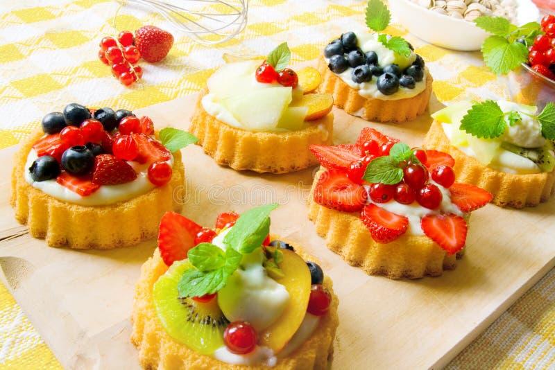 Mini fancy cakes stock image