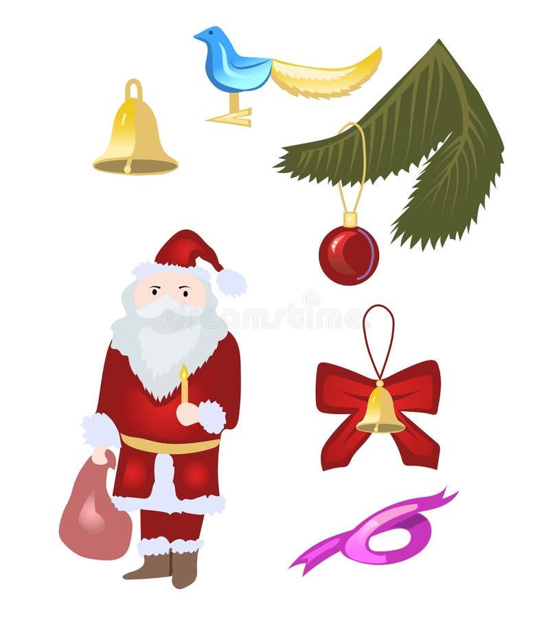 Mini- fastställd vektor för jul royaltyfri illustrationer