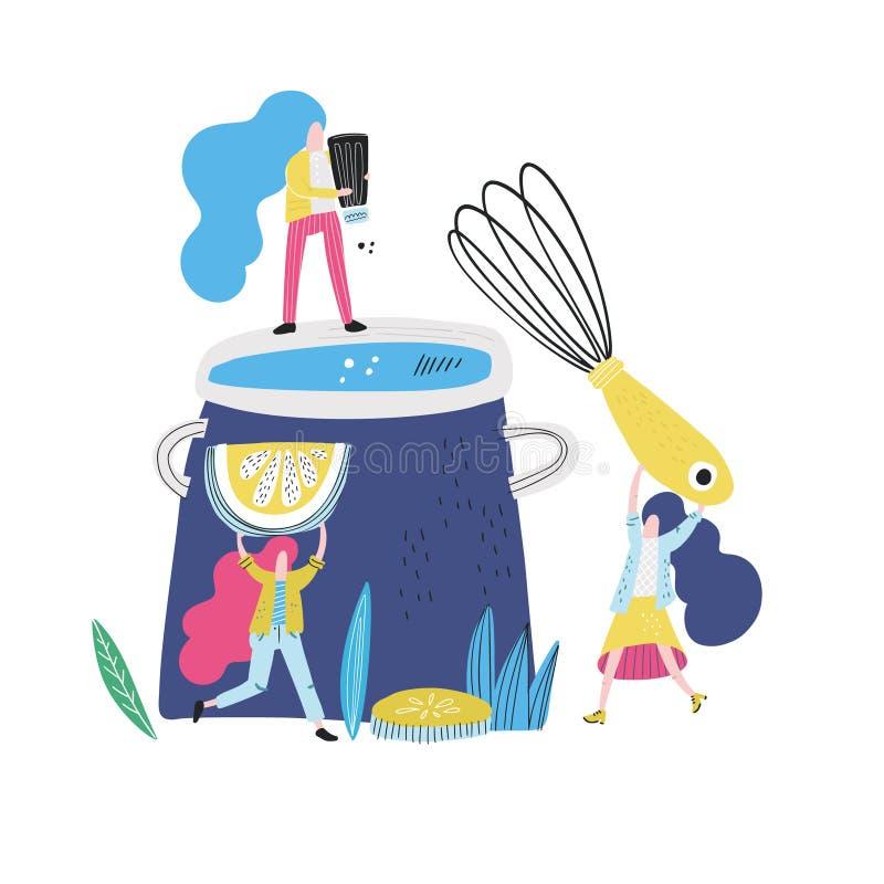 Mini femmes dans la cuisine illustration stock