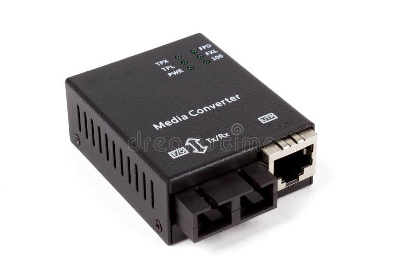 Mini fiber optic Media converter stock image