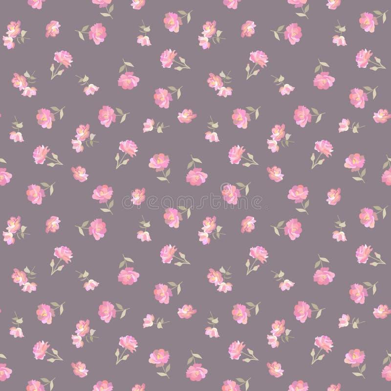 Mini fleurs roses douces sur le fond de couleur de café dans le vecteur Modèle sans couture écervelé dans le style de countru Cop illustration de vecteur