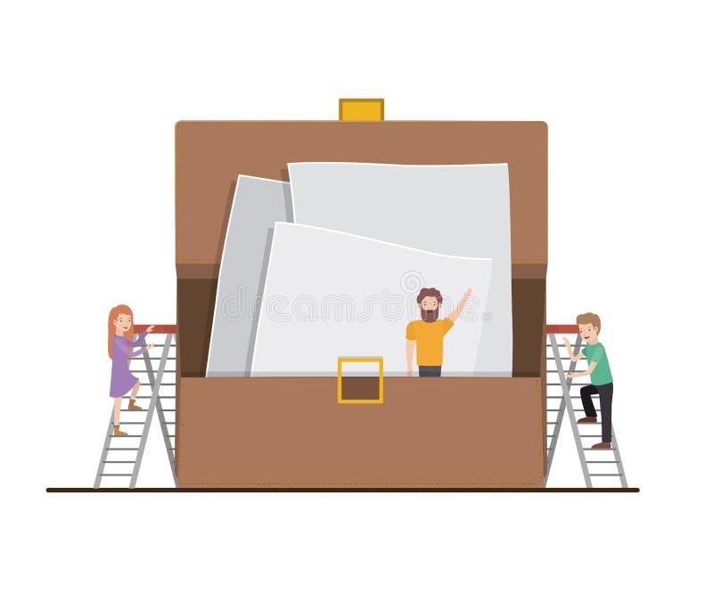 Mini- folk för teamwork som gör portföljen royaltyfri illustrationer