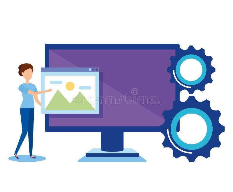 Mini- folk med datoren stock illustrationer
