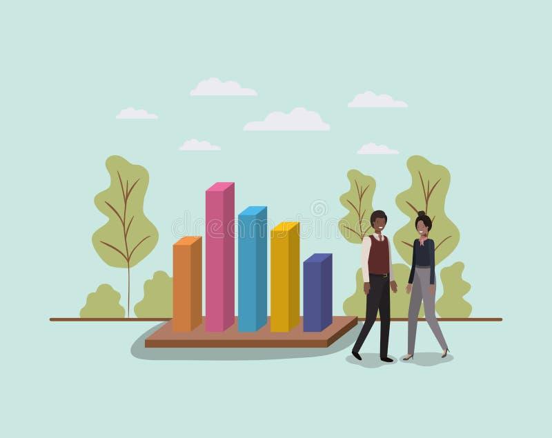 Mini- folk med statistikstänger royaltyfri illustrationer