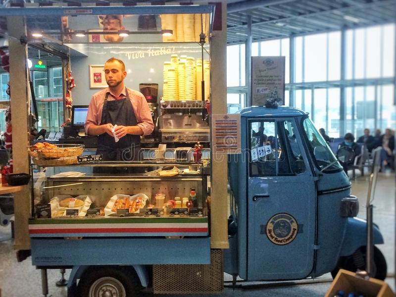 Mini Food Van Concesion in Airport royalty free stock photography