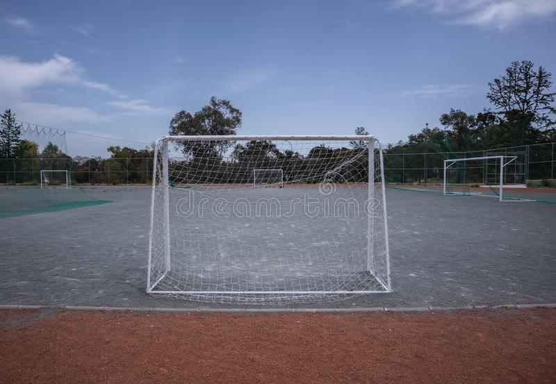 Mini football goalposts and court royalty free stock images