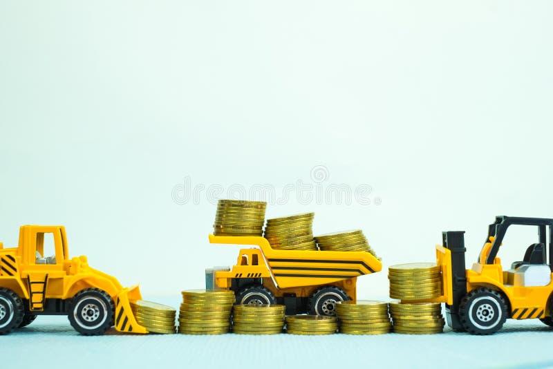 Mini forklift buldożeru ciężarowego i drogowego rolownika maszyna z stosem fotografia stock