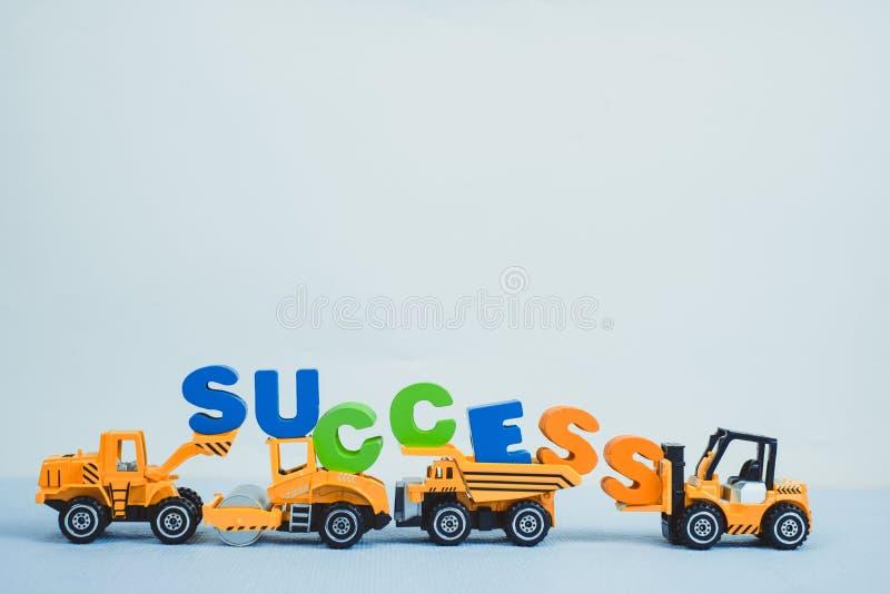 Mini forklift buldożeru ciężarowego i drogowego rolownika maszyna z tekstem fotografia royalty free