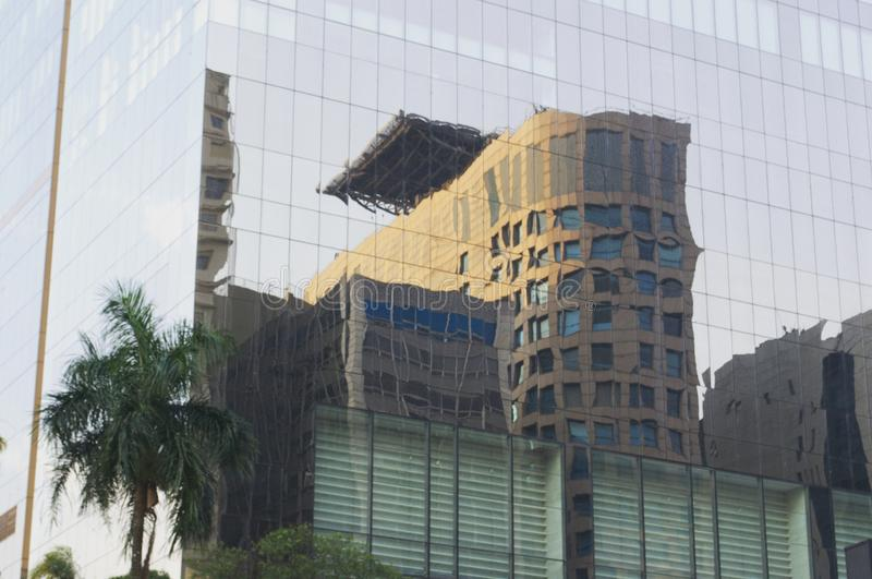 mirror reflecting buildings royalty free stock images