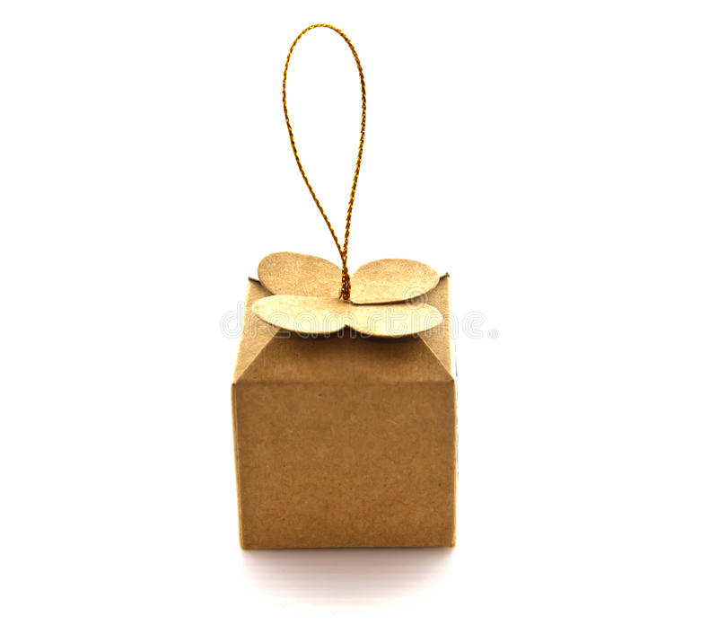 Mini gift box on white background. Isolated royalty free stock photography