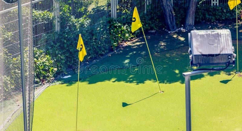 Mini- golfövning i stad med gräsplan och flaggor royaltyfri fotografi