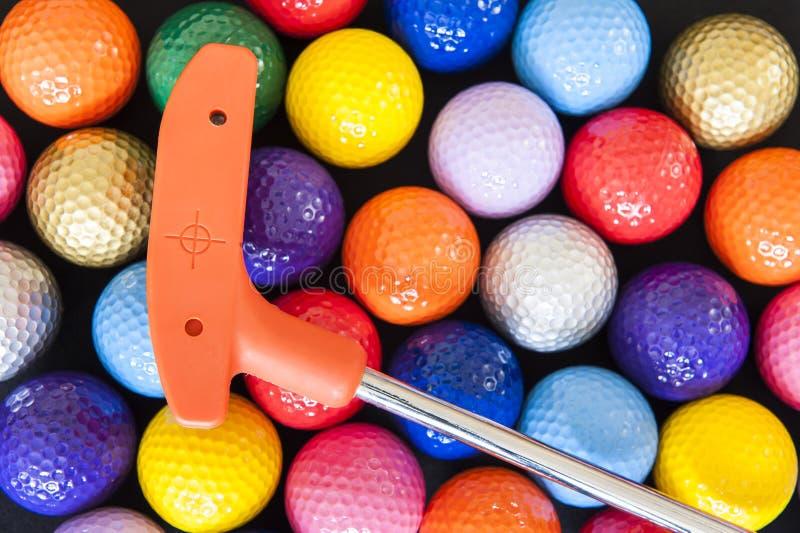 Mini Golf Balls y club fotografía de archivo libre de regalías
