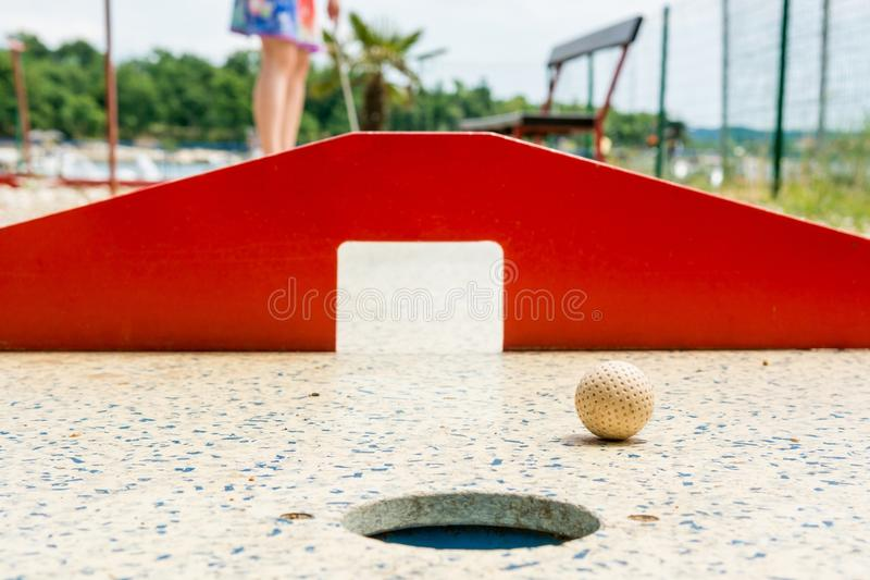 Mini golf, closeup of red gates. royalty free stock photo
