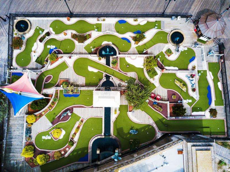 Mini golf course aerial view royalty free stock images