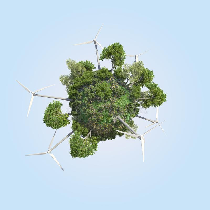 Mini Green Windmill Energy-Welt lizenzfreies stockbild