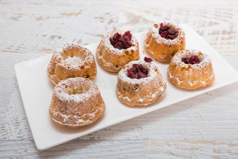 Mini gugelhupf with vanilla and cranberry royalty free stock photography