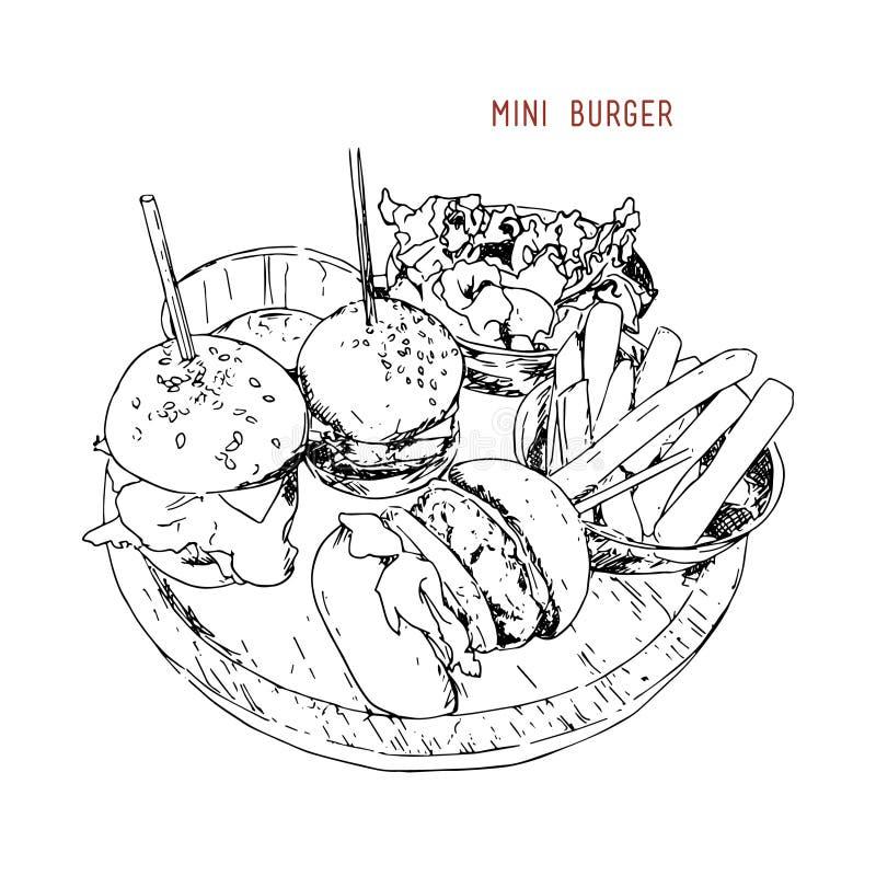 Mini hamburgery wektorowi royalty ilustracja