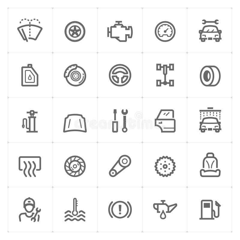 Mini Icon fijó - icono del garaje y de la pieza de automóvil stock de ilustración