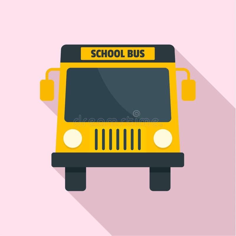 Mini icono del autobús de la escuela amarilla, estilo plano ilustración del vector