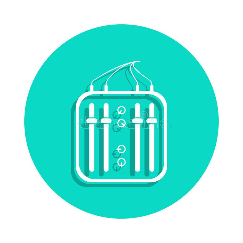 mini icono del mezclador en estilo de la insignia Uno del icono de la colección de los instrumentos de música se puede utilizar p ilustración del vector