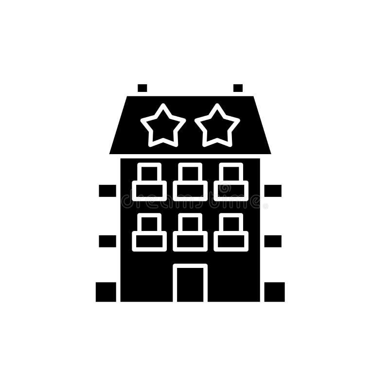 Mini icono del negro del hotel, muestra del vector en fondo aislado Mini símbolo del concepto del hotel, ejemplo libre illustration