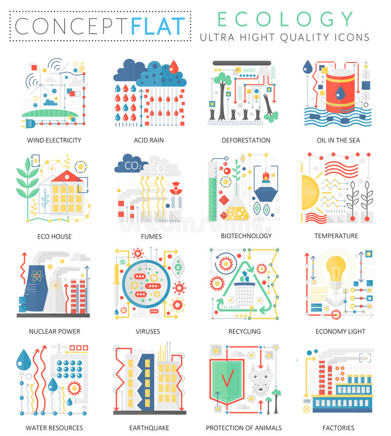 Mini iconos de la ecología del verde del concepto de Infographics para el web Iconos planos conceptuales de los gráficos del web  libre illustration