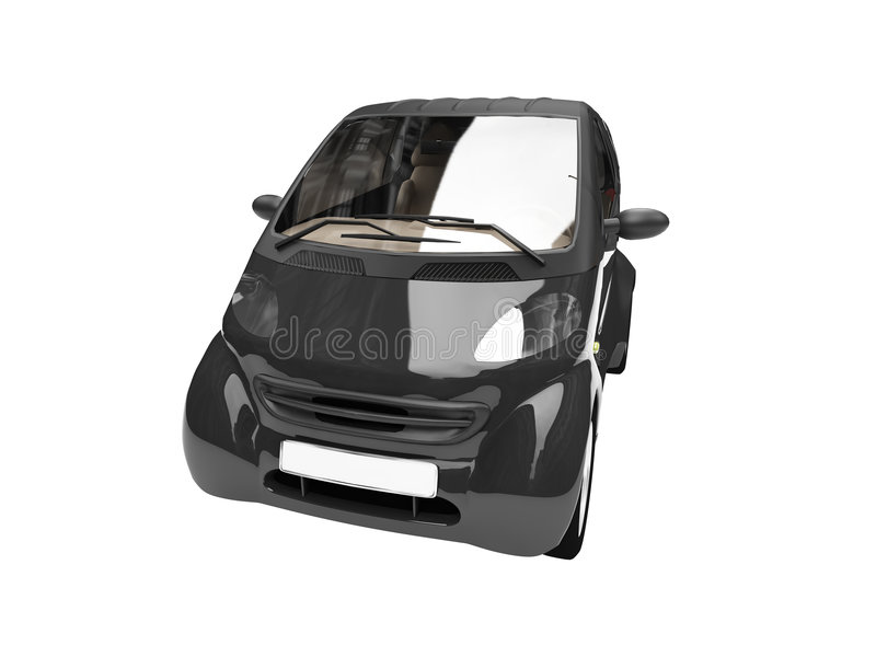 Mini Isolated Black Car Front Royalty Free Stock Image