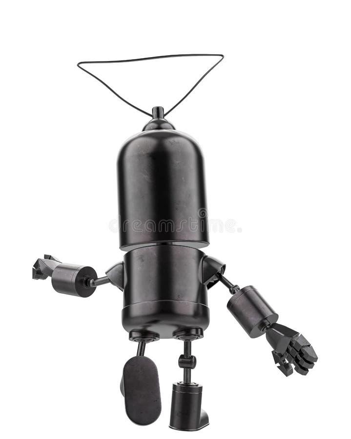 Mini- järnrobot i en vit bakgrund royaltyfri illustrationer