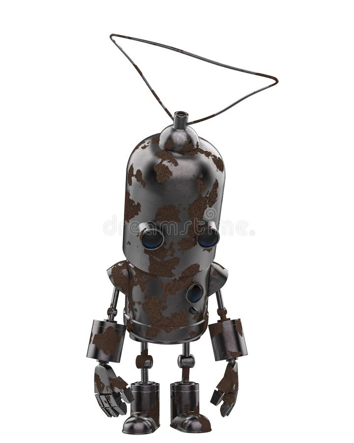 Mini- järnrobot i en vit bakgrund stock illustrationer