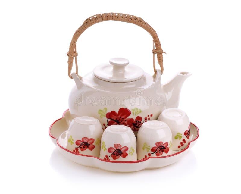 Mini juego de té aislado en el fondo blanco fotos de archivo libres de regalías