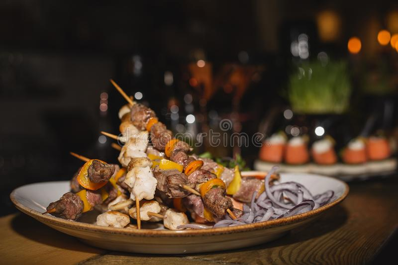 Mini kebabs on buffet royalty free stock photo