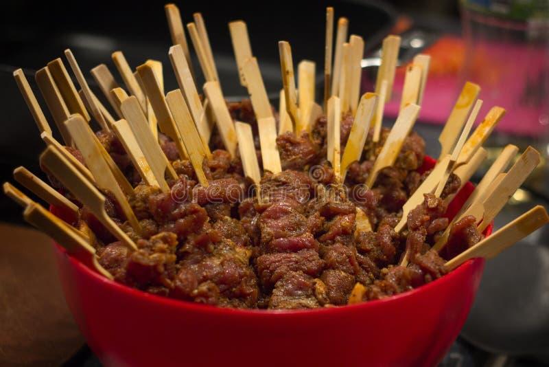 Mini-kebabs van lam, Aziatisch-Stijl royalty-vrije stock foto
