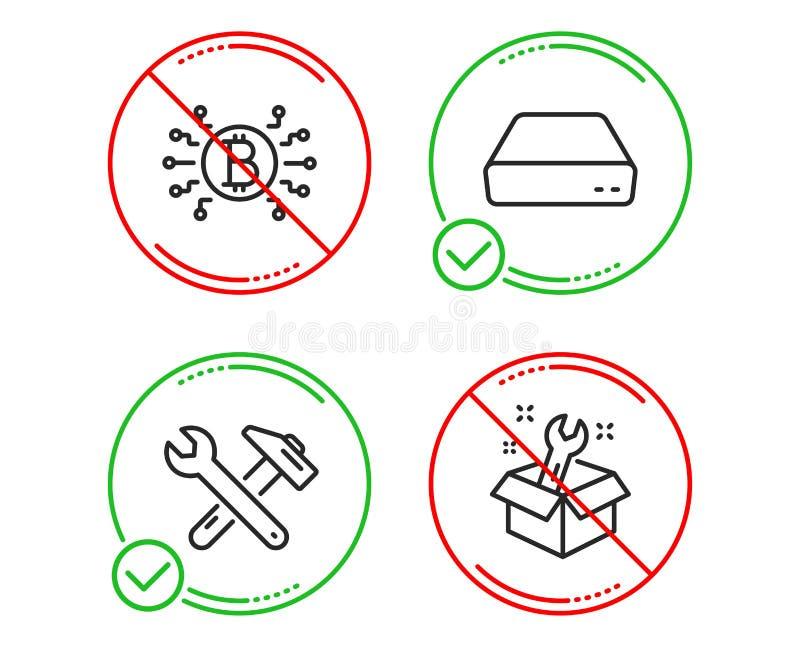 Mini komputer osobisty, Bitcoin system i Spanner narz?dziowe ikony ustawia?, Spanner znak Komputer, Cryptocurrency plan, naprawa  ilustracja wektor