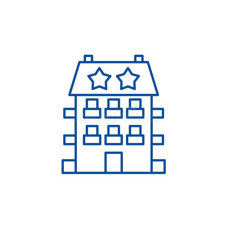 Mini línea concepto del hotel del icono Símbolo plano del vector del mini hotel, muestra, ejemplo del esquema ilustración del vector