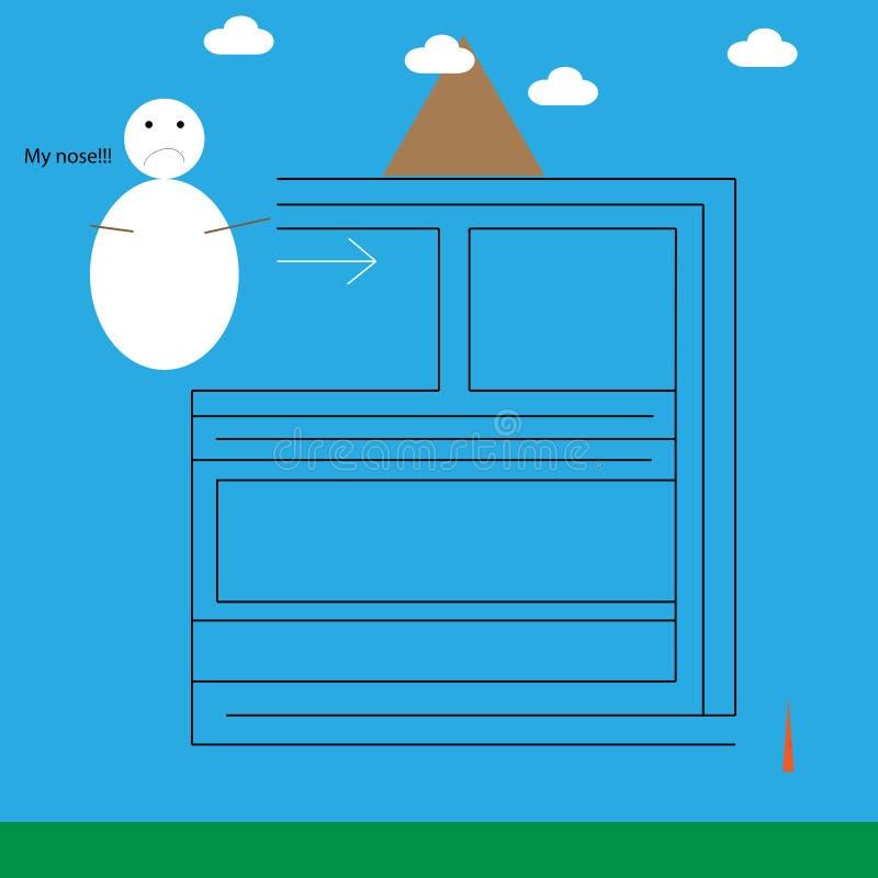 Mini labyrinthe avec le bonhomme de neige illustration libre de droits