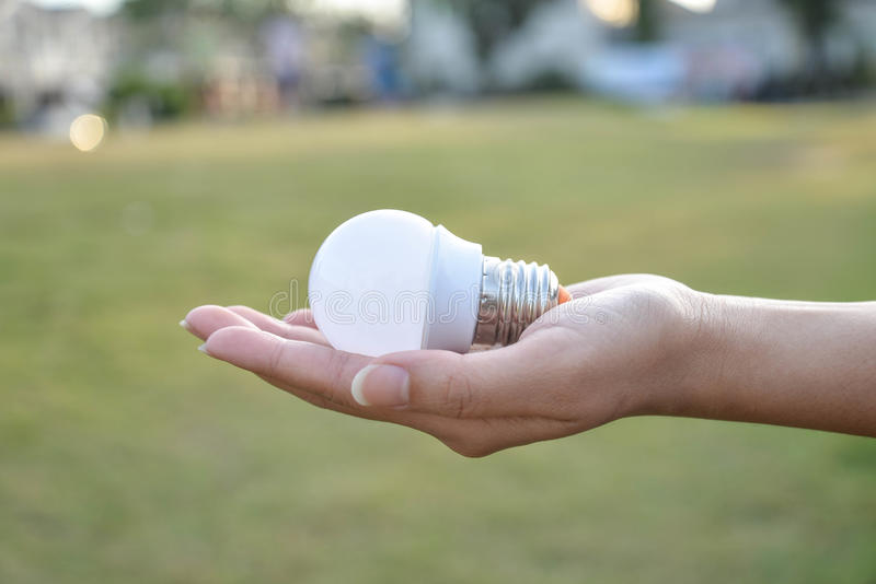 Mini LED Bulb- saving technology in our hand. Hand hold Mini LED Bulb - saving technology in our hand royalty free stock photo