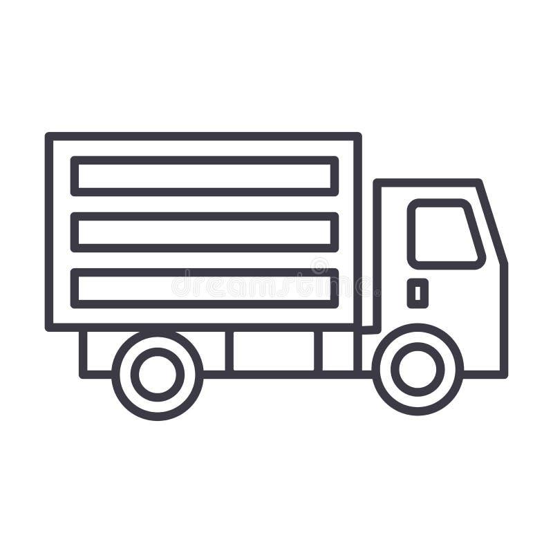Mini ligne icône, signe, illustration de vecteur de camion sur le fond, courses editable illustration de vecteur