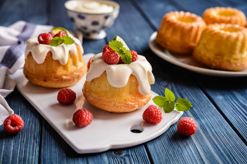 Mini lime bundt cakes with whipped cream and raspberries topping stock image
