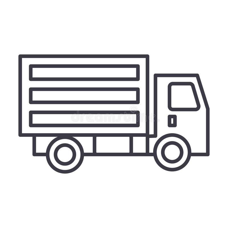 Mini linha ícone do vetor do caminhão, sinal, ilustração no fundo, cursos editáveis ilustração do vetor