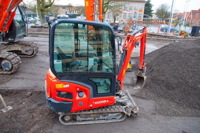 Mini máquina escavadora de Kubota imagem de stock royalty free