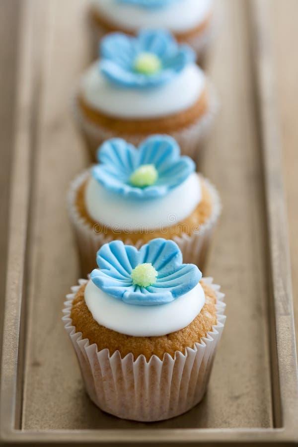 Mini magdalenas azules de la flor fotos de archivo