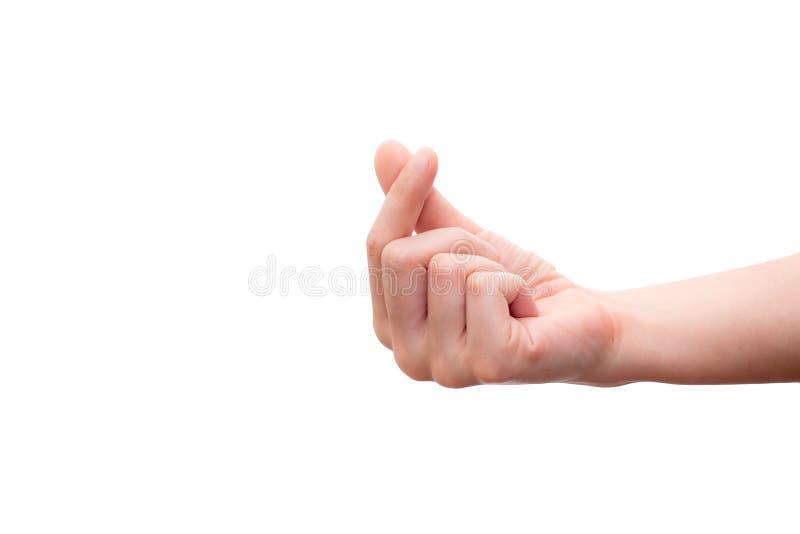 Mini main de coeur d'isolement sur le fond blanc, symbolique de la Corée Concept de Valentine photo stock