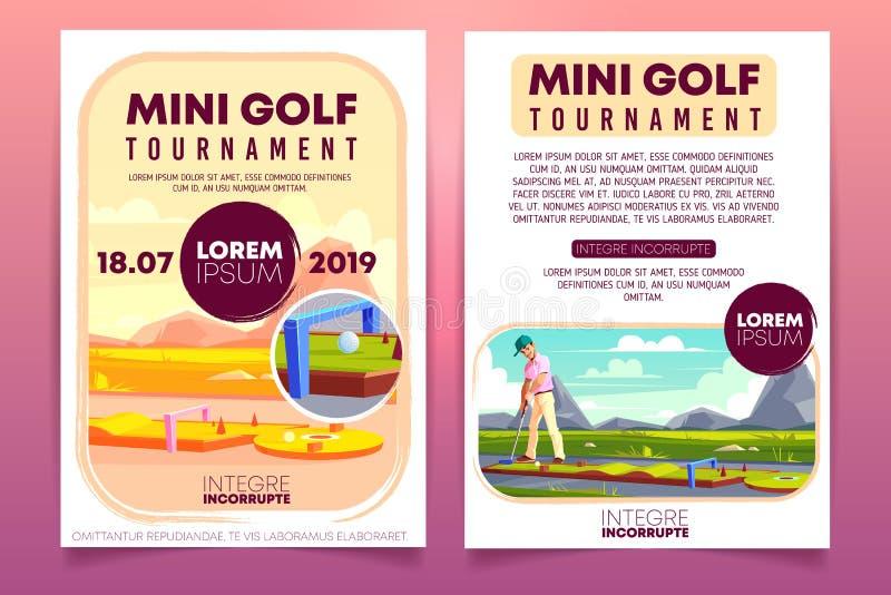 Mini- mall för vektor för reklamblad för golfturneringannons vektor illustrationer