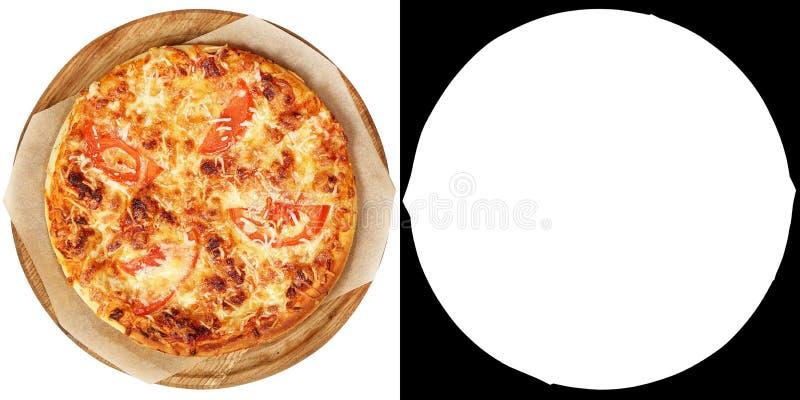 Mini margarita de pizza sur les tomates en bois d'un plat, sauce à prima, fromage photo libre de droits
