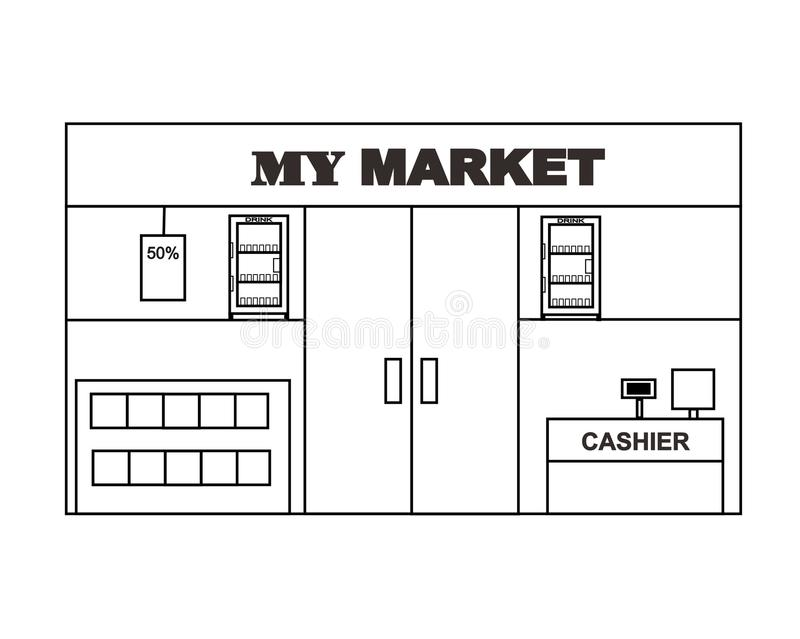 Mini Market Layout Design Vector vector illustratie